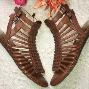 V CAMUTO GLADIATOR woven leather open heel